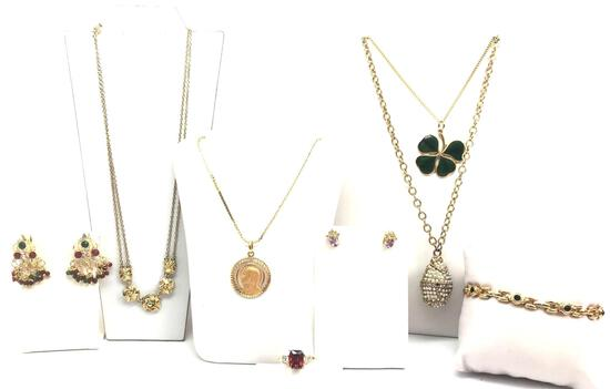 Gold Tone Costume Jewelry Collection : Necklaces, Bracelet, Ring, and Earrings