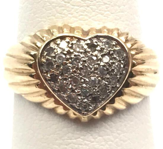14k Yellow Gold and Pave Diamond Sweetheart Ring