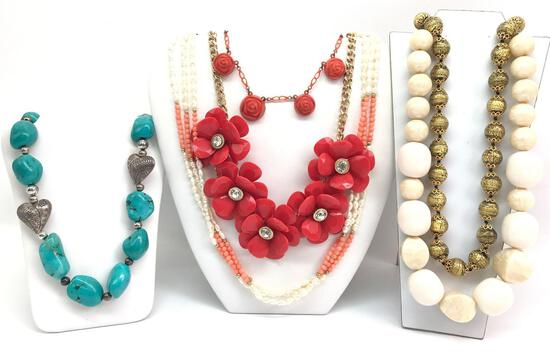 Lot of 6: Shades of Coral, Turquoise and Gold Costume Necklaces