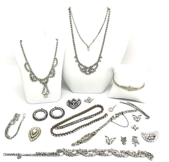 Lot of Vintage Rhinestone Jewelry for Crafting : Reinat, Emmons, Kramer, and more