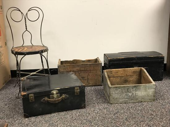 Group of 5 Antique Wooden Crates Trunk Chair Trunk