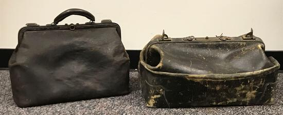 Group of 2 Antique Leather Doctors Cases