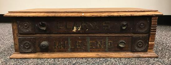 Antique Clark?s Mile-End 2 drawer thread/spool cabinet