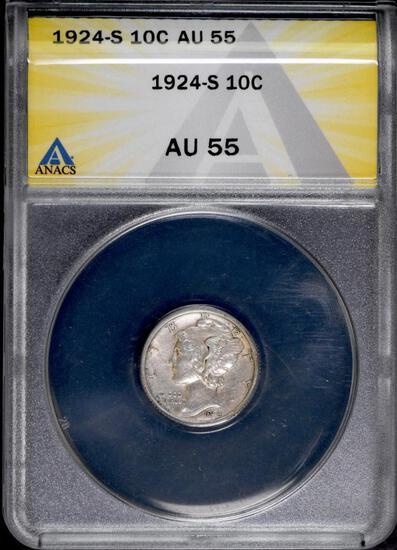 1924 S Mercury Silver Dime (ANACS) AU55.