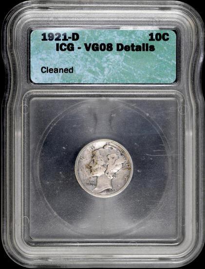 1921 D Mercury Silver Dime (ICG) VG08 details.