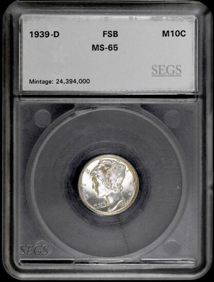 1939 D Mercury Silver Dime (SEGS) MS65 FSB.
