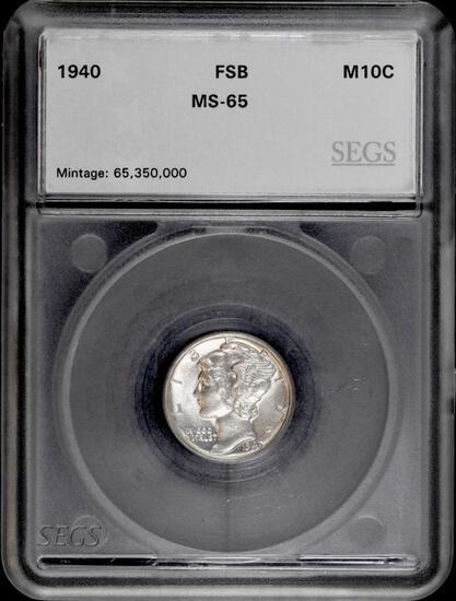1940 P Mercury Silver Dime (SEGS) MS65 FSB.
