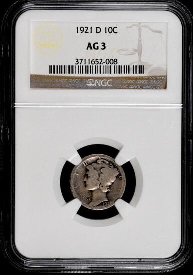 1921 D Mercury Silver Dime (NGC) AG3.