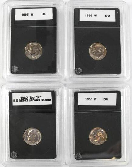 Group of (4) 1996 W & 1882 No P Roosevelt Dimes.