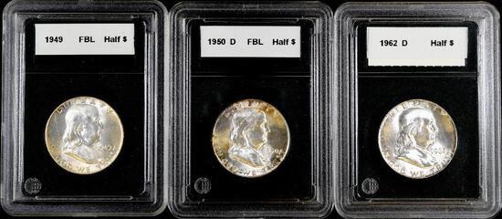 Group of (3) Franklin Silver Half Dollars.