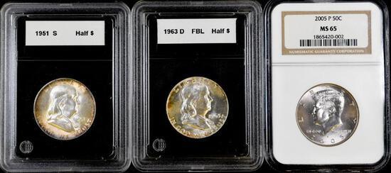 Group of (3) U.S. Half Dollars.
