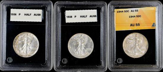 Group of (3) Walking Liberty Silver Half Dollars.