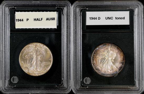 Group of (2) Walking Liberty Silver Half Dollars.