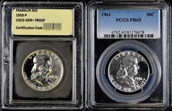 Group of (2) Franklin Silver Half Dollar Proofs.
