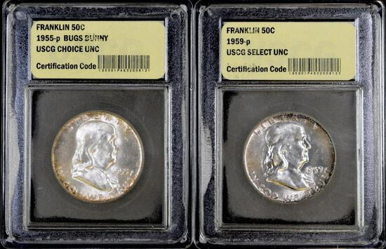 Group of (2) Franklin Silver Half Dollars.