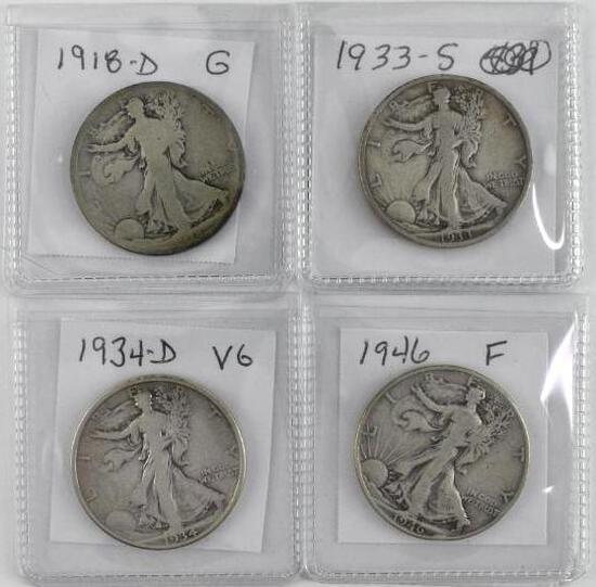 Group of (4) Walking Liberty Silver Half Dollars.