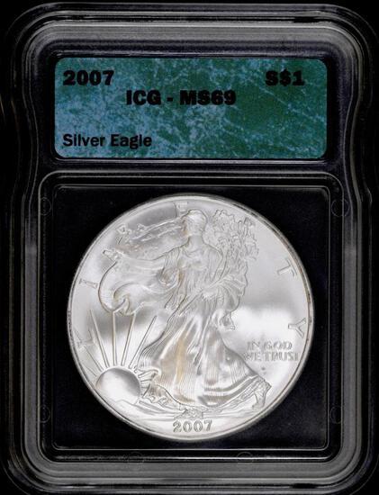 2007 P American Silver Eagle 1oz. (ICG) MS69.
