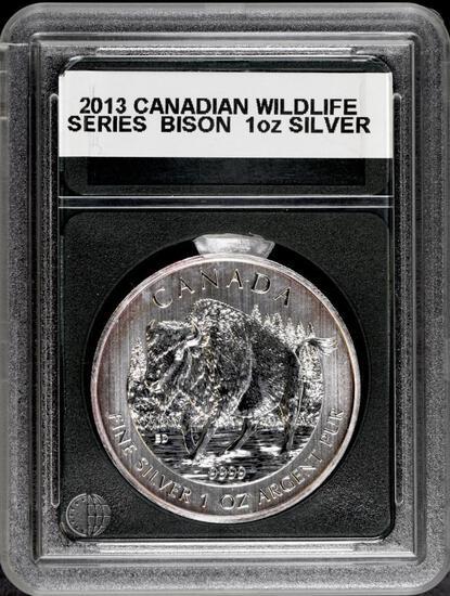 2013 Canada Wildlife Series Bison 1 oz. Silver.