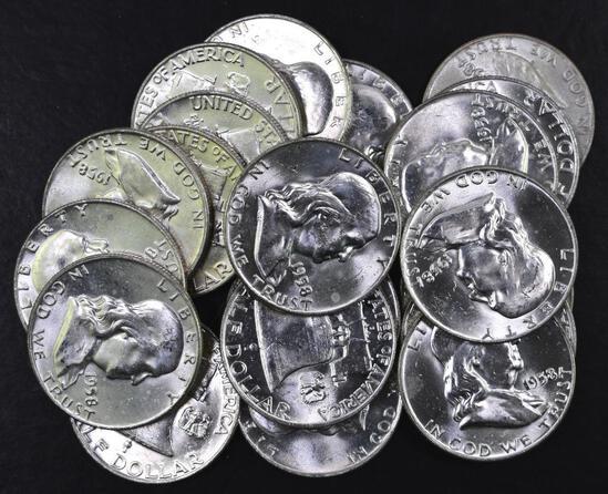 Group of (20) 1958 D Franklin Silver Half Dollars.