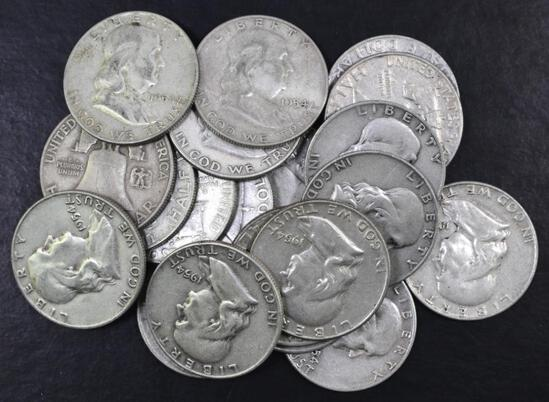 Group of (20) 1954 D Franklin Silver Half Dollars.