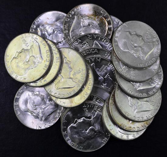 Group of (20) 1962 D Franklin Silver Half Dollars.