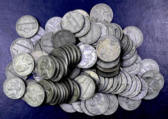 Group of (100) Jefferson Silver War Nickels.