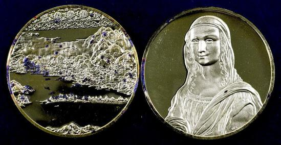 Group of (2) Franklin Mint Greatest Masterpiece Solid Sterling Silver / 24K Gold Plated.