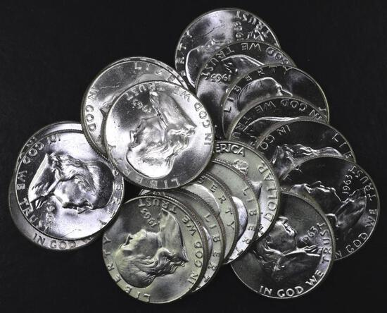 Group of (20) 1963 P Franklin Silver Half Dollar.