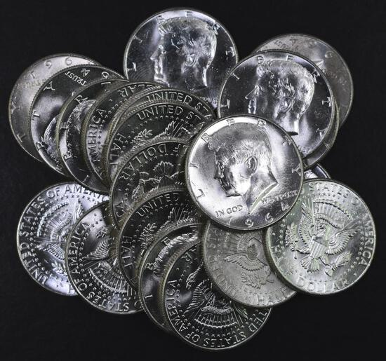 Group of (20) 1964 P Kennedy Silver Half Dollars.