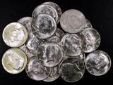 Group of (20) 1964 D Kennedy Silver Half Dollar.