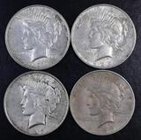 Group of (4) 1923 D Peace Silver Dollars.