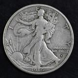 1916 S Walking Liberty Silver Half Dollar.