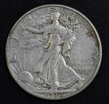 1938 D Walking Liberty Silver Half Dollar.