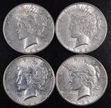 Group of (4) 1922 S Peace Silver Dollars.