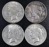 Group of (4) 1926 S Peace Silver Dollars.