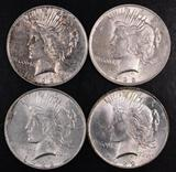 Group of (4) 1922 P Peace Silver Dollars.