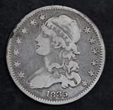 1835 Capped Bust Silver Quarter.