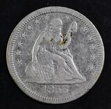 1856 P Seated Liberty Silver Quarter.