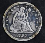 1857 P Seated Liberty Silver Quarter.