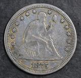 1875 P Seated Liberty Silver Quarter.