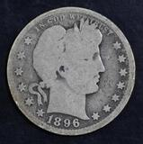 1896 O Barber Silver Quarter.