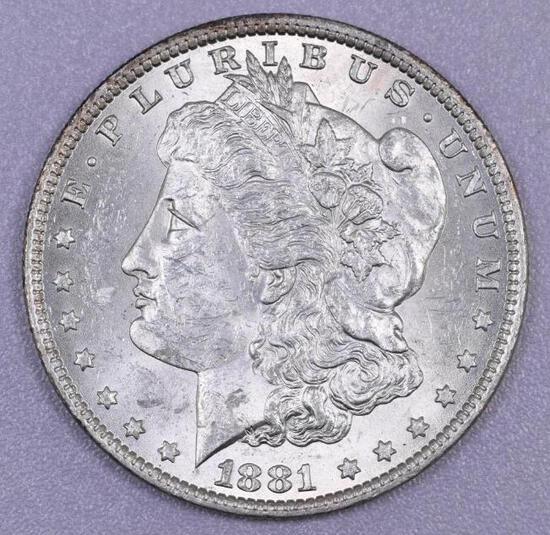 1881 O Morgan Silver Dollar.