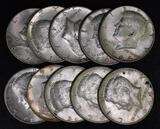 Group of (10) 1964 D Kennedy Silver Half Dollars.