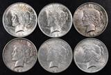 Group of (6) Peace Silver Dollars.