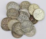 Group of (20) Walking Liberty Silver Half Dollars.
