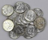 Group of (20) 1956 P Franklin Silver Half Dollars.