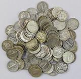 Group of (100) Mercury Silver Dimes.