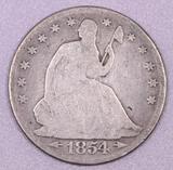 1854 P Arrows Seated Liberty Silver Half Dollar.