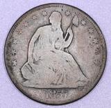 1857 P Seated Liberty Silver Half Dollar.