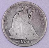 1873 P Arrows Seated Liberty Silver Half Dollar.